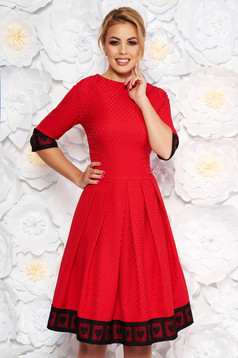 Artista red occasional midi cloche dress slightly elastic fabric with lace details