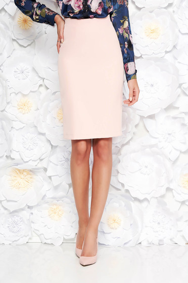 StarShinerS peach office skirt straight high waisted slightly elastic fabric with inside lining