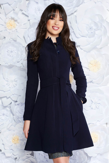 Artista darkblue office trenchcoat straight slightly elastic fabric with inside lining accessorized with tied waistband