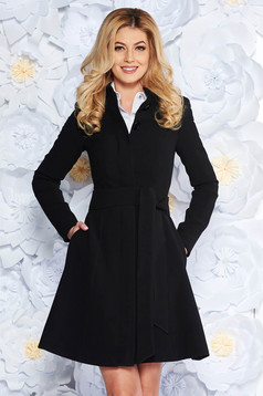 Artista black office trenchcoat straight slightly elastic fabric with inside lining accessorized with tied waistband