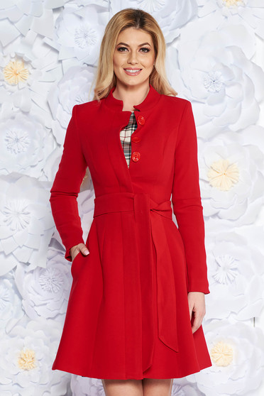 Artista red office trenchcoat straight slightly elastic fabric with inside lining accessorized with tied waistband