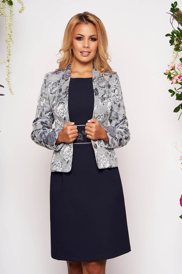 StarShinerS darkblue jacket occasional short cut tented jacquard long sleeved with inside lining
