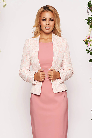 StarShinerS peach jacket occasional short cut tented jacquard long sleeved with inside lining
