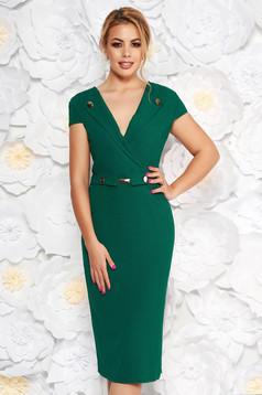 StarShinerS green elegant midi pencil dress scuba with metal accessories