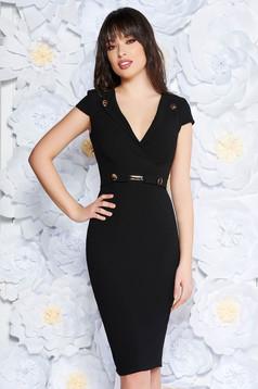 StarShinerS black elegant midi pencil dress scuba with metal accessories
