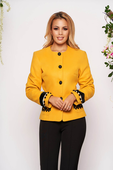 LaDonna mustard elegant wool jacket arched cut with inside lining handmade applications