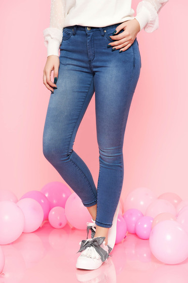 Top Secret blue casual denim trousers with medium waist with tented cut