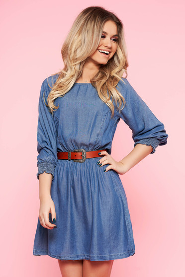 Top Secret blue daily cloche dress denim with elastic waist