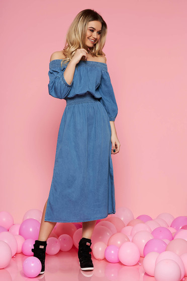 Top Secret darkblue daily flared dress with elastic waist off shoulder denim