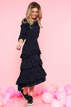 Top Secret darkblue casual dress airy fabric dots print with 3/4 sleeves
