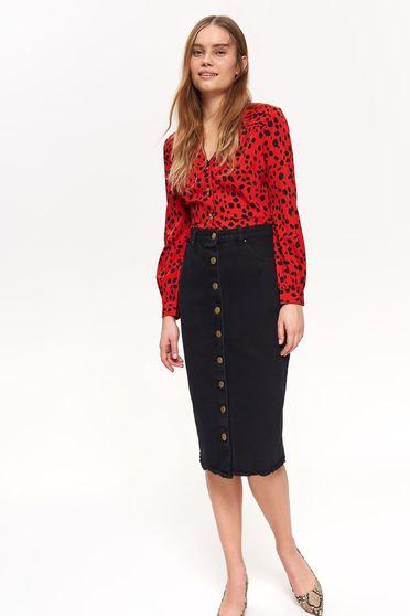 Top Secret black casual midi high waisted denim skirt