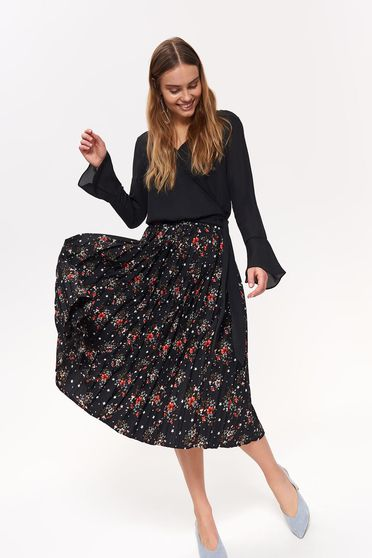 Top Secret black casual high waisted cloche skirt with floral prints