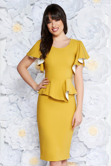 PrettyGirl mustard elegant pencil dress frilled slightly elastic fabric with inside lining
