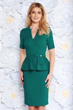 PrettyGirl green elegant midi pencil dress frilled slightly elastic fabric with inside lining