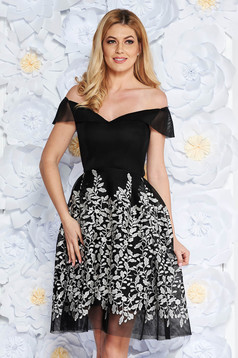 Black occasional net stockings cloche dress with inside lining embroidered on the shoulders