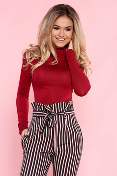 Red casual turtleneck women`s blouse with tented cut thin fabric long sleeved