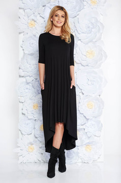 Black daily flared dress from elastic fabric asymmetrical with 3/4 sleeves