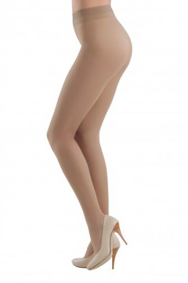 Brown 20 den pressure-free border women`s tights with runstop fitted heel