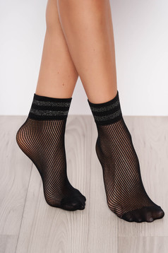 Black net stockings tights & socks from elastic fabric shimmery metallic fabric
