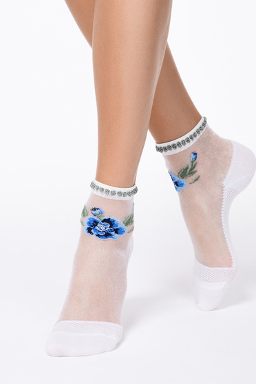 Blue socks transparent fabric fitted heel with floral print