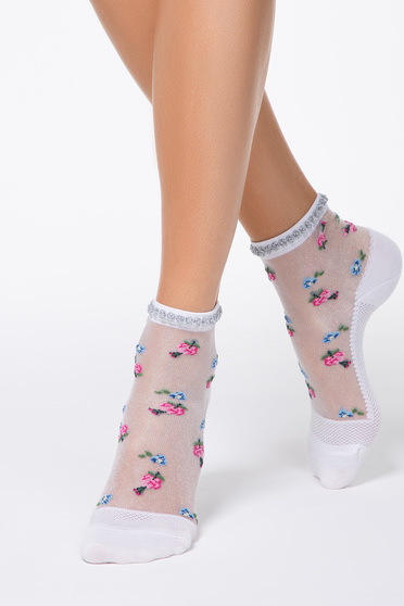 Pink tights & socks transparent fabric fitted heel with floral print