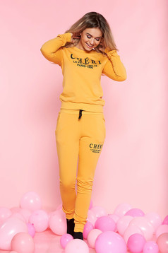 SunShine mustard casual set slightly elastic cotton with pockets long sleeved