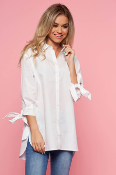 Top Secret white casual flared women`s shirt 3/4 sleeve nonelastic cotton