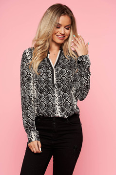 Black office flared women`s shirt airy fabric with v-neckline