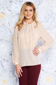 Cream elegant from veil fabric flared women`s blouse long sleeved