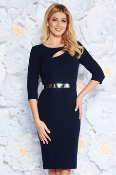 Darkblue elegant pencil dress from elastic fabric cut-out bust design accessorized with tied waistband