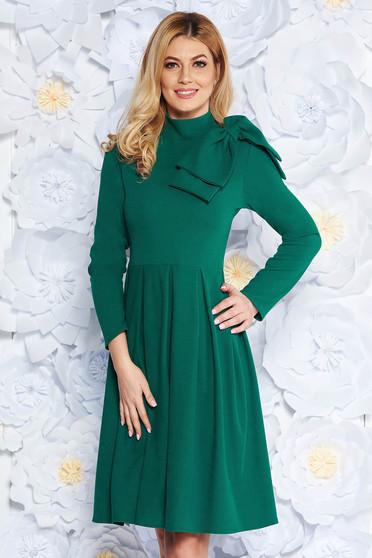 Green elegant cloche dress slightly elastic fabric bow accessory