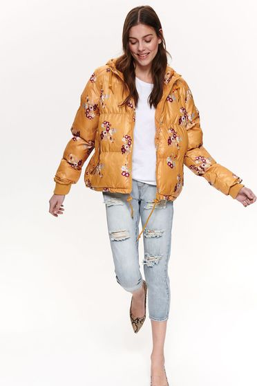Yellow casual short cut jacket with hood and pockets with floral print