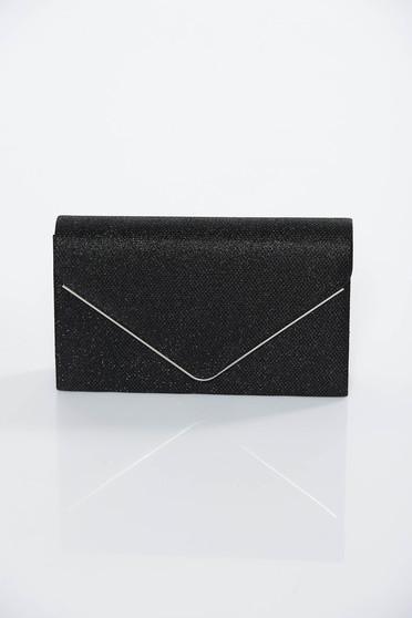Black occasional bag clutch shimmery metallic fabric