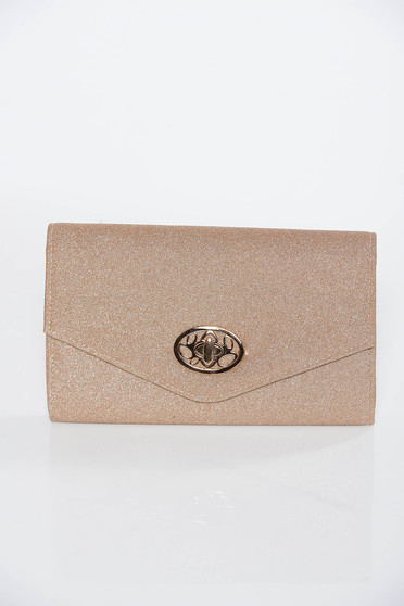 Gold clutch bag from shiny fabric long chain handle