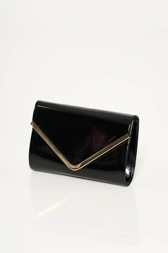 Black occasional clutch bag from shiny fabric with metalic accessory long chain handle