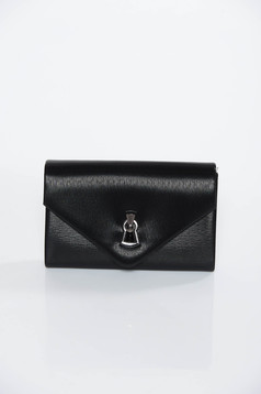 Black occasional clutch bag from ecological leather