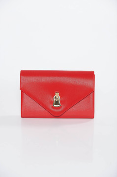 Red occasional clutch bag from ecological leather