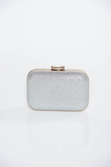 Silver occasional clutch bag with metallic aspect long chain handle