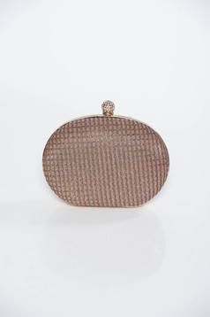Brown bag occasional clutch long chain handle
