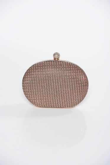 Brown bag occasional long chain handle elegant with glitter details