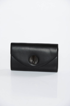 Black clutch bag from ecological leather long chain handle