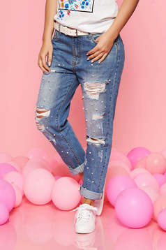 SunShine blue casual cotton jeans with ruptures with pearls with pockets