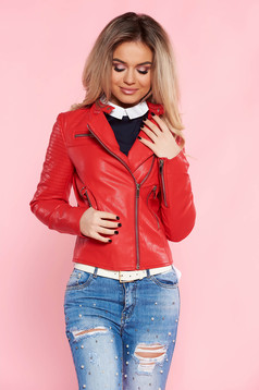 SunShine red casual jacket from ecological leather with inside lining with zipper details pockets