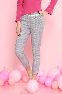 SunShine white casual trousers with medium waist slightly elastic cotton accessorized with belt