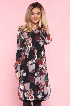 SunShine black casual flared dress thin fabric with floral prints
