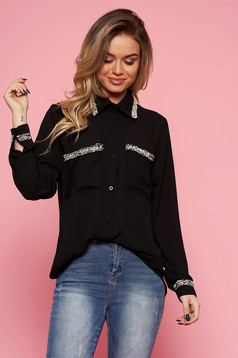 SunShine black elegant flared women`s shirt voile fabric long sleeved