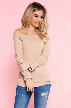 SunShine cream casual sweater with tented cut knitted fabric with pearls