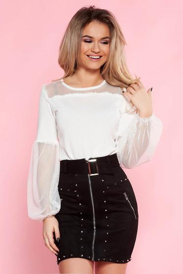 SunShine white casual flared women`s blouse thin fabric elastic held sleeves