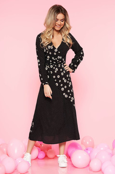 Top Secret black casual cloche dress airy fabric with floral prints with dots print wrap around
