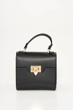 Black casual bag natural leather metallic buckle